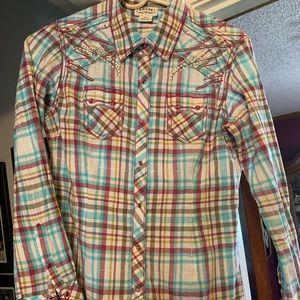 Ariat Plaid, Rhinestone shirt SP